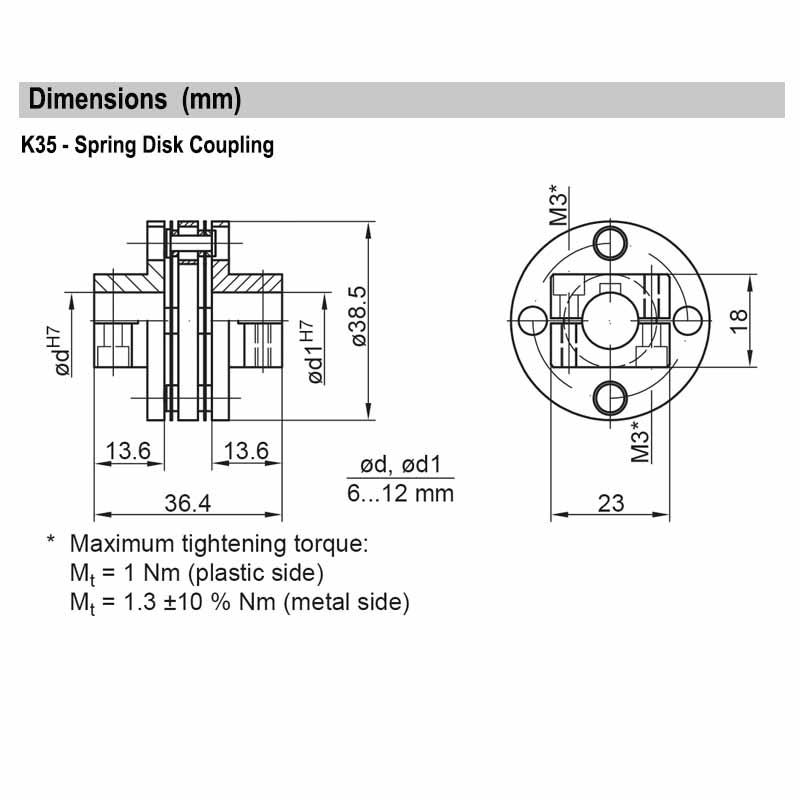 K35 Bore: d=d1=11H7